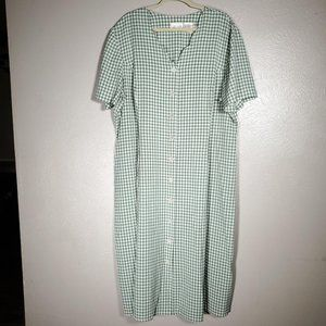 vintage 90s  sage gingham maxi dress